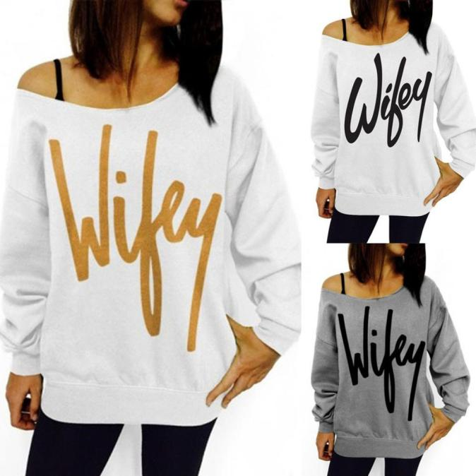 Womens Letter Print Loose Sweatshirt Casual Pullover Top