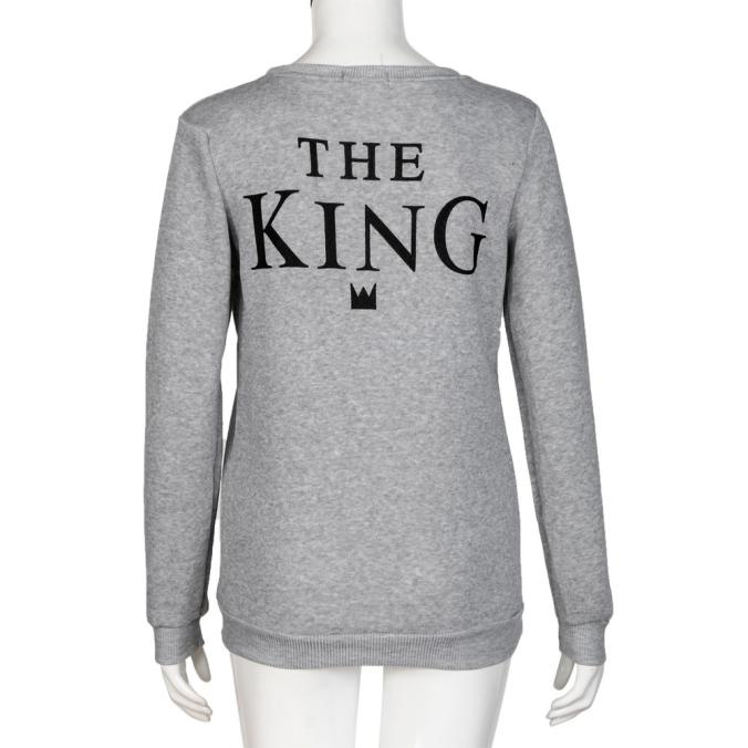 Men Grey KING Letter Print Long Sleeve T-Shirt Top Blouse Couple Shirt