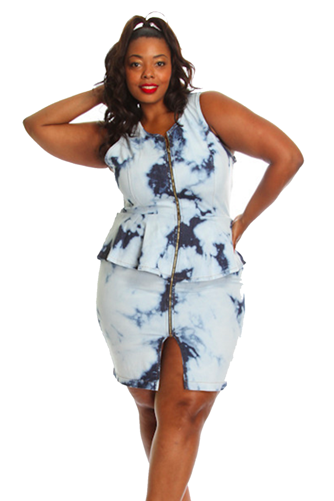 Peplum wash denim dress plus size