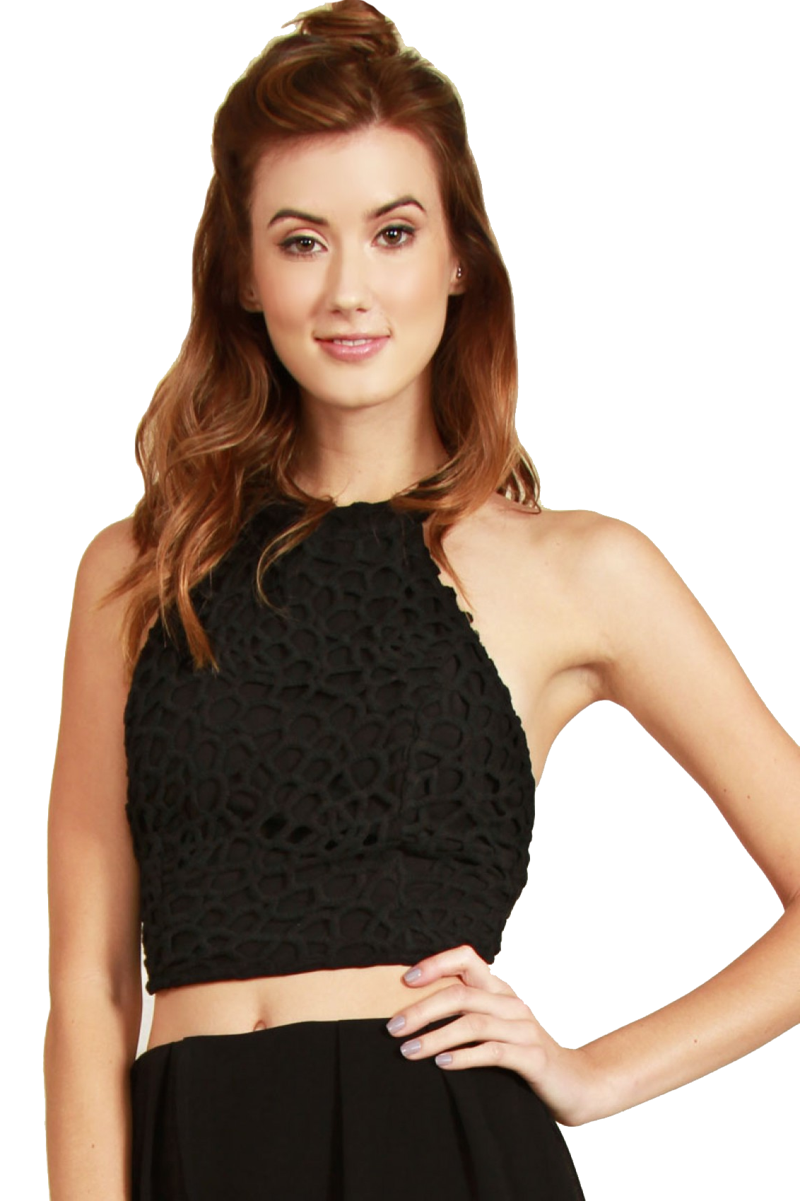 Black Floral Crochet Halter Top