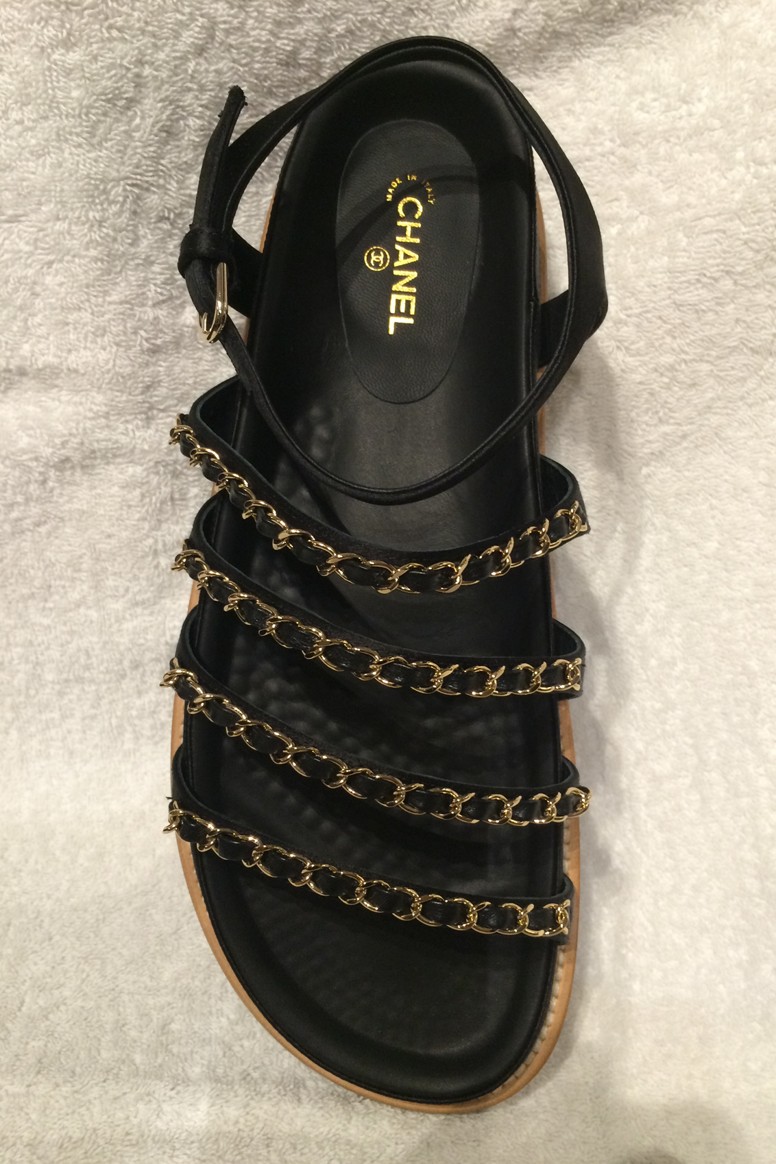 Chanel Satin Strappy Embellished Chain Sandals