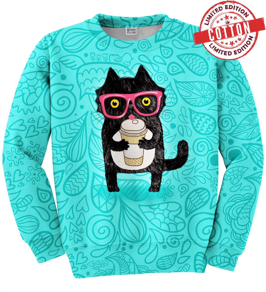 COFFEE CAT COTTON SWEATER