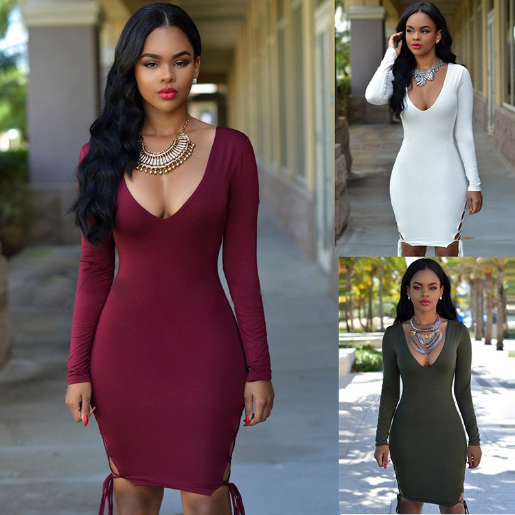 Sexy Long Sleeve Lace Up Bodycon Dress