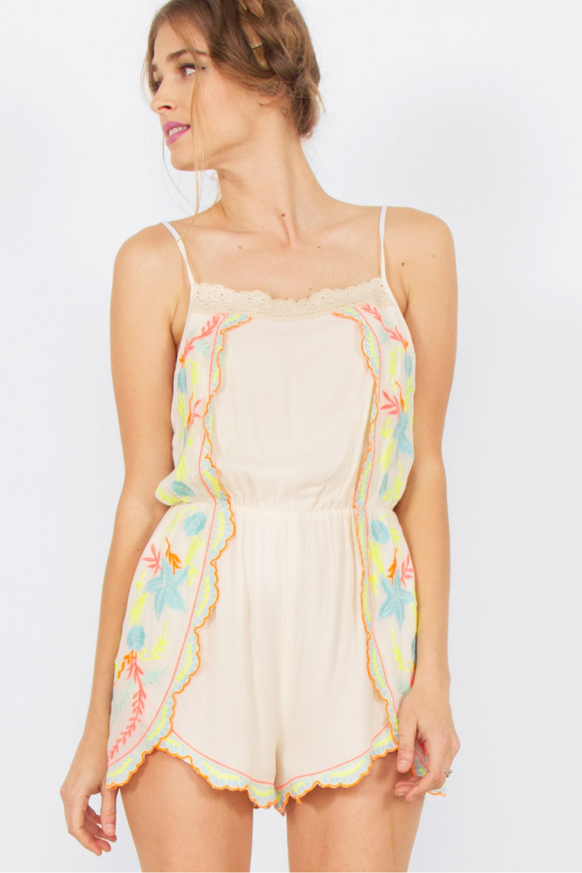 Summer Embroidery Romper