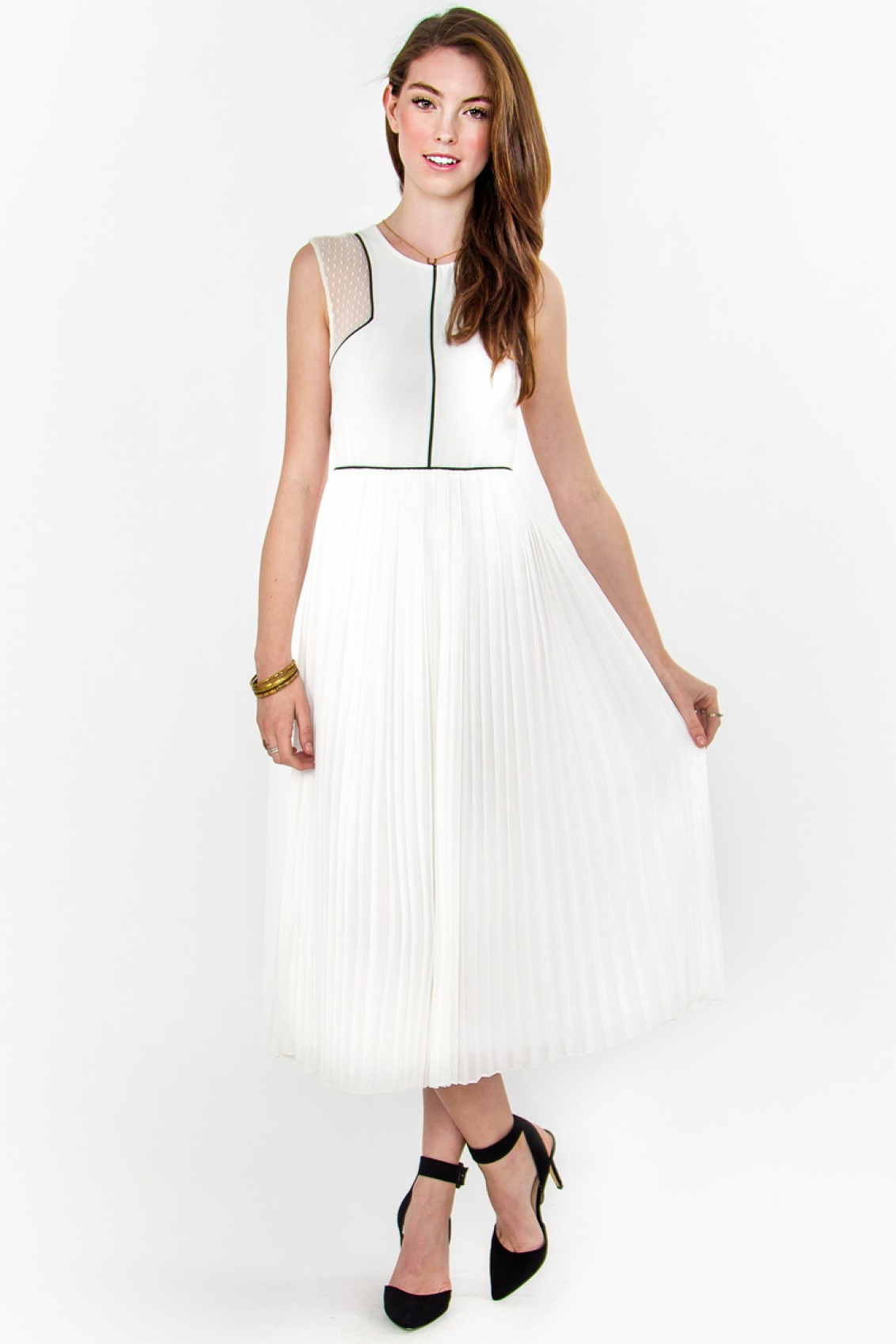 White Chiffon Midi Jackson Dress
